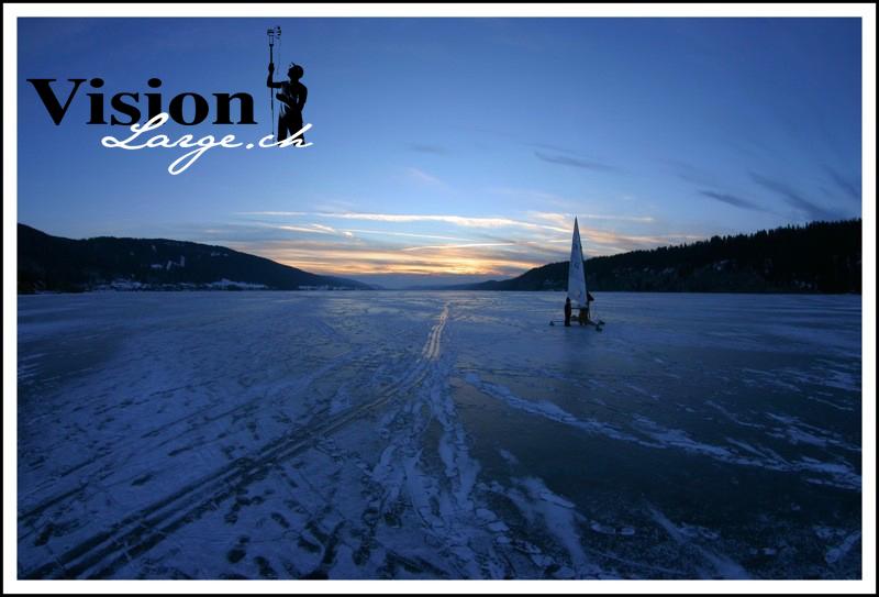 Le lac de Joux gelé.